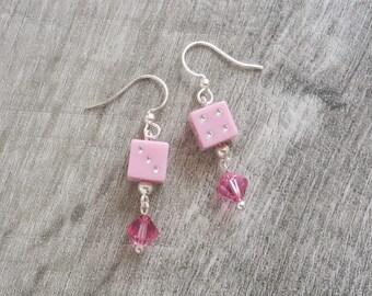 Dice Earrings - Casino Jewelry - Pair of Dice Silver Earrings with Swarovski Crystals - Handmade Beaded Earrings by LittleMillieShop