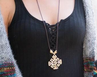 Tribal Necklace // Mayan Necklace // Geometric Symbols Necklace // Extra Long Necklace // Hunab Ku Necklace // Hunab Ku Pendant