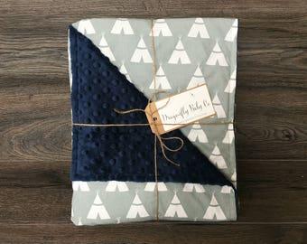 Navy & Grey Teepees Baby Blanket