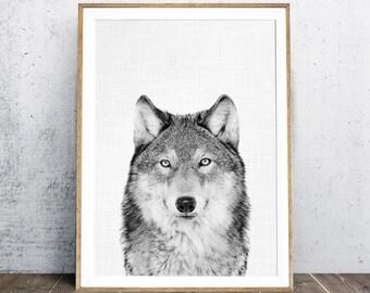 Black and White Photography, Wolf Print, Animal Print, Wolf Photo, Nursery Animal Decor, Nursery Wall Art, Nursery Decor, Digital Print