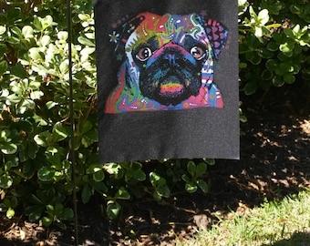 Pug Dog Dogs Black Garden Flag--Dean Russo Art