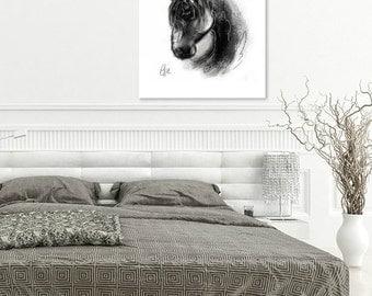Horse head print // horse print // horse head painting // equine art print // equestrian art print // horse art print // horse decor