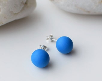 Blue Stud earrings, Polymer Clay earrings, Simple Stud earrings, Blue Post earrings, Everyday earrings, Handmade Stud earrings, Ball Studs