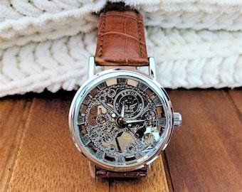 Mechanical wristwatch, mens leather band watch, steampunk watch, wrist watch, skeleton watch, watch movement, best man gift, boyfriend gift