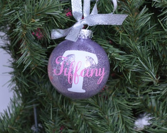 Initial Ornament, Monogram Ornament, Name Ornament, Personalized Glitter Ornament, Christmas Ornament, Personalized Christmas Ornament