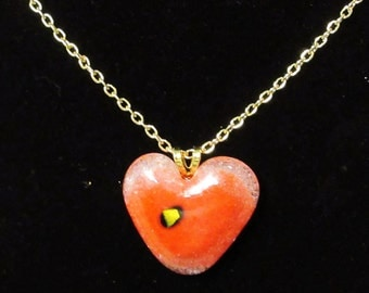 EH-P155 Pendant, Heart, red glass with golden bling center