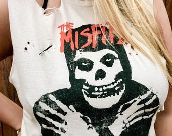 Custom Cut and Distressed The Misfits Band Shirt