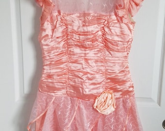 Pretty in pink PROM DRESS! Coral pink 1980s vtg sleeveless minidress short party dress with ruched bodice and sheer panels ** size 11/12