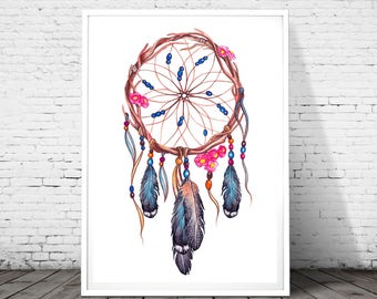 Dream catcher print, dream catcher art, dream catcher wall art, printable art, instant download, tribal print, dream catcher poster, Nursery