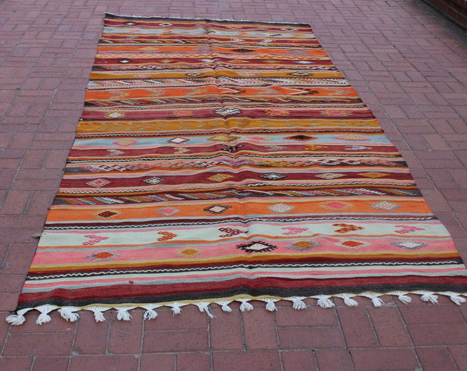 FREE SHIPPING | Orange Large Turkish Kilim Rug