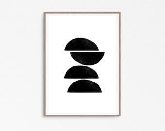 Printable Abstract Art, Printable Wall Art, Black and White Art, Geometric Art, Scandinavian Print, Instant Download Art, Printable Prints
