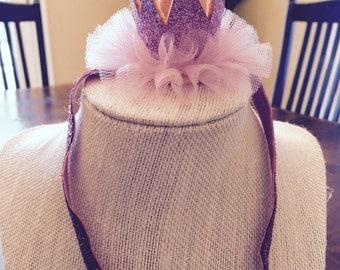 Princess crown, pink headband crown, pink headband, first birthday crown, first birthday princess headband, 1st birthday headband, headband