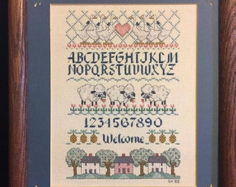 Framed Counted Cross Stitch Sampler