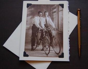 Vintage Gay Card, LGBTQ - Bike Buddies - cyclists, boyfriends, single speed bike