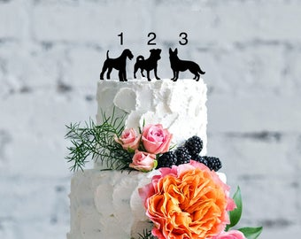 Custom Dog cake topper, Silhouette dogs cake topper, Dog silhouette Cake Topper,Dog Birthday Cake Topper, silhouette cake topper for wedding