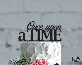 Wedding cake topper, Once Upon A Time Cake Topper, Romantic Cake Topper, Silver Wedding Cake Topper,Custom Gold Cake Topper, Elegant Wedding