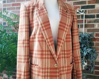 Vintage Womens Blazer, Vintage Plaid Blazer, Orange Plaid Blazer, Brown Plaid Blazer, Womens Plaid Blazer, Plus size Blazer, Orange Jacket