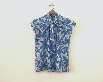 Summery Blue Silky Ascot Top
