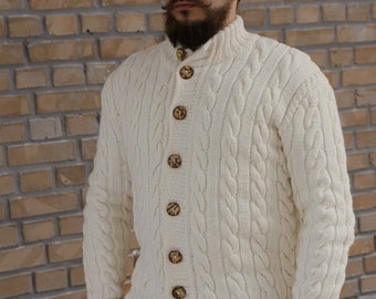 Men's hand knit Cardigan,  Hand Knit Sweater with Wooden Buttons, Cable Knit, Casual Wool Cardigan, Made to Order, Chunky Cardigan Sweater