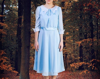 inspired by Emma Bloom dress Emma Bloom costume Emma Sky blue dress women Emma dress Peculiar dress blue with collar