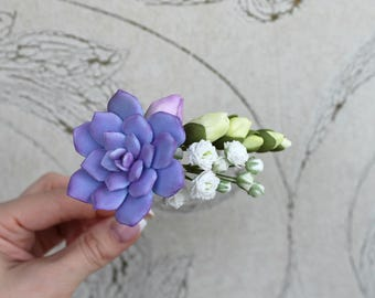 Succulent hair pin Gypsophila freesia hair pin Purple Bridal flowers Wedding hair accessories Wedding hair pins Gift for her Purple wedding