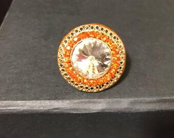 Indian Jewelry - Fashion Ring - Orange Statement Ring - Bollywood Jewelry - Imitation Jewelry - Wedding Jewelry - South Indian - Kundan -