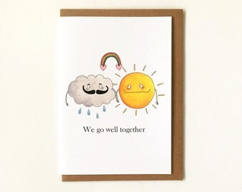 We Go Well Together Valentine's Day Card - Love Card - Any Occassion Greeting Card