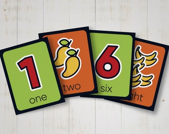 Numbers flash cards to learn 9 to 0 - Educational cards for kids - Matching game cards - Printable numbers memory game