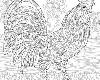 Adult Coloring Pages Rooster Cock Bantam Zentangle Doodle For Adults