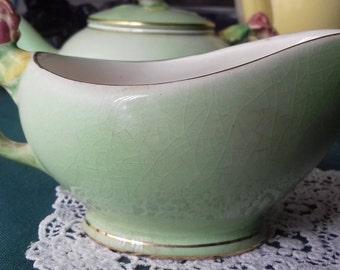 FLOWER-HANDLE Royal Winton GRIMWADES jug  Rose Bud Flower Handle - green vintage art deco china