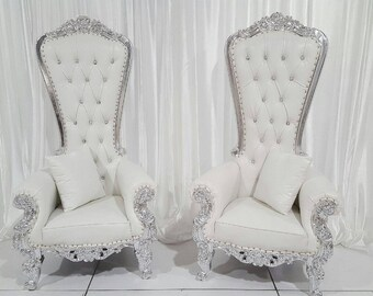 Two Throne Chair Package w/ Silver Trim