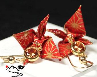 Origami Earrings,Origami Crane Earrings,Crane Earrings, Japanese Jewelry,Japanese paper,Cubic zirconia Earrings,Japan,Gift for her