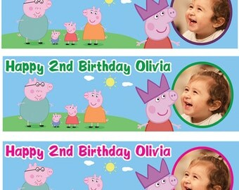 2 x Personalized Birthday Banner Peppa Pig Party Balloon Kids party- any name ages.