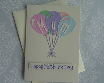 Mother's Day balloon card, Handmade card for Mum, Mothering Sunday card, Happy Mother's Day card, Balloon birthday card for Mum / Mom