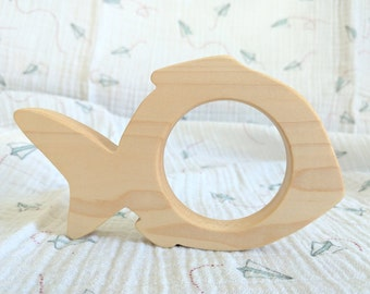 Organic wooden teether and grasping toy -  little fish