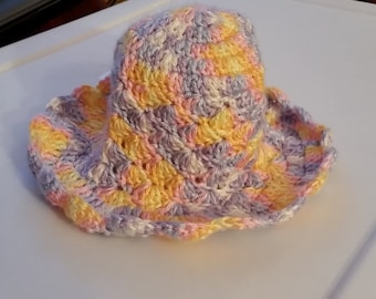 6-9 month baby hat with curled brim