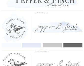 Hand Illustrated Logo, Illustrated Logo, Photography Logo, Bird Logo, Vintage Logo Design, Modern Logo Design, Pre Made Logo, Brand Design