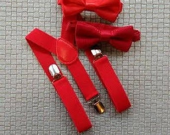 Baby suspenders-Red Toddler bow tie-baby bow tie-suspenders-Youth-red suspenders set-Red bow tie-red suspenders-birthday boy set-wedding