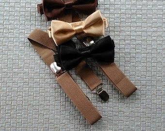 Suspender and bowtie/suspenders set/baby boys suspenders/ bowtie/Tan/Brown bowtie/Khaki suspenders/ring bearer/Wedding/Prop Photo/Dapper Boy