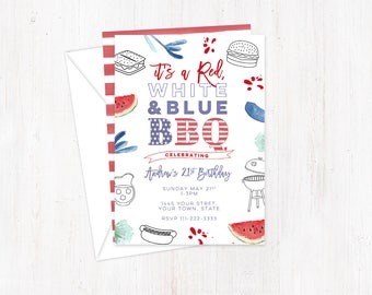 BBQ invitations, Independence Day invites, patriotic invites, stars and stripes, homecoming invites, deployment invitations, cookout party