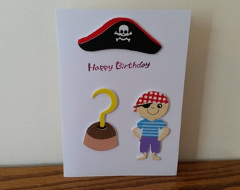 Handmade Pirate 'Happy Birthday' Greetings Card - Hat Captain Hook Sailor Boy Girl Scull and Crossbones British Made Party Peter Pan Childs