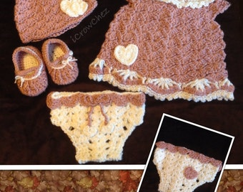 Newborn Crocheted Sweetheart Outfit - Girls