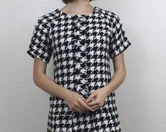Gorgeous Black & White Houndstooth Mini Dress