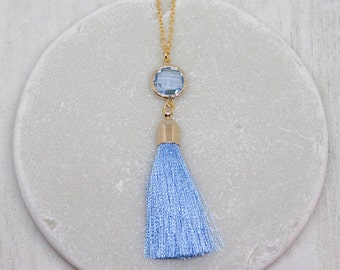Yellow gold chain tassel blue