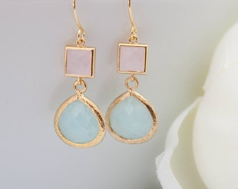 Earrings yellow gold Mint jade pink