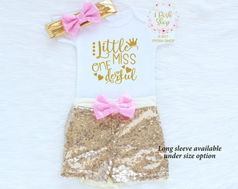 First Birthday Girl Outfit, First Birthday Outfit Girl, Girl 1st Birthday Outfit, 1st Birthday Outfit Girl, Sequin Shorts Birthday BF11
