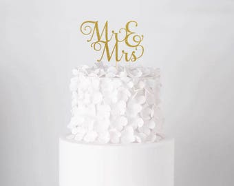 Mr and Mrs Cake Topper, Cake Decoration, Glitter, Party, Custom, Personalized, Gold, Silver, Wedding Decoration, Engagement, Bride, Groom