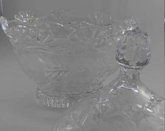 REDUCED!  Vintage lead crystal covered candy dish   #97