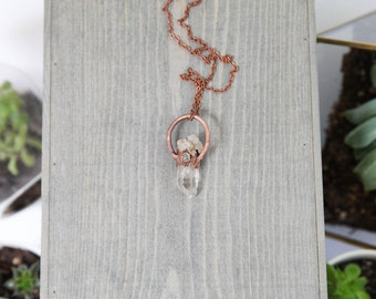 Electroformed Copper Necklace / Raw Quartz Crystal and Turquoise