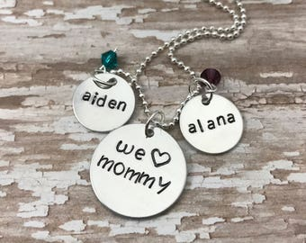 Personalized hand stamped name necklace - mother's day gift for mom - we love mommy - kids names - mommy necklace - birthstone necklace